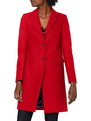 Abrigo de cachemira rojo mujer