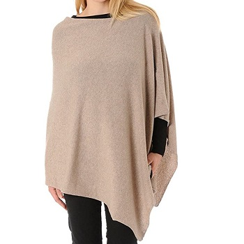 Poncho color crema 100% lana de cachemir