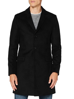 abrigo de cachemira negro de hombre
