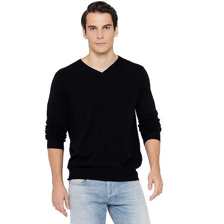 jersey de cachemir negro para hombre
