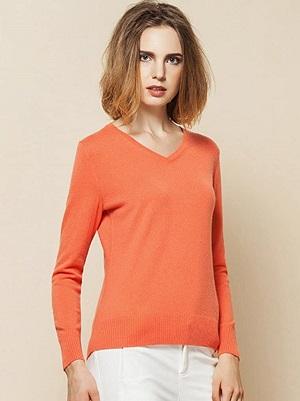 jersey de cashmere de mujer color rojo palido