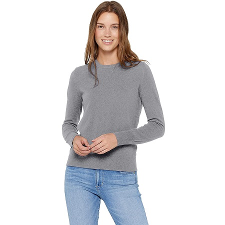 jersey fino de cachemira gris para mujer