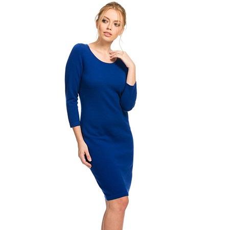 vestidos de cachemir azul hasta las rodillas